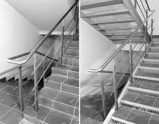 Ограждение лестницы из нержавейки и чёрного металла