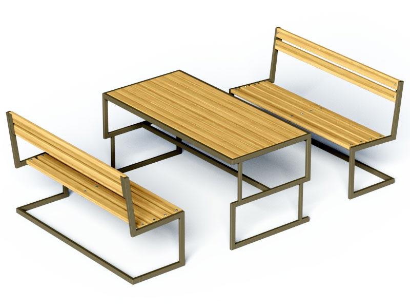 Комплект лавочки и стол Консоль