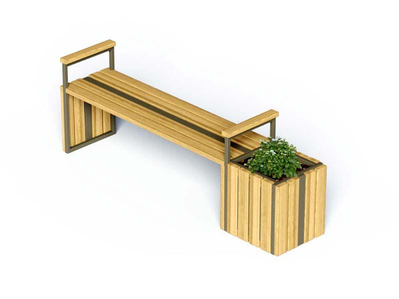 Скамейка с кашпо фото
