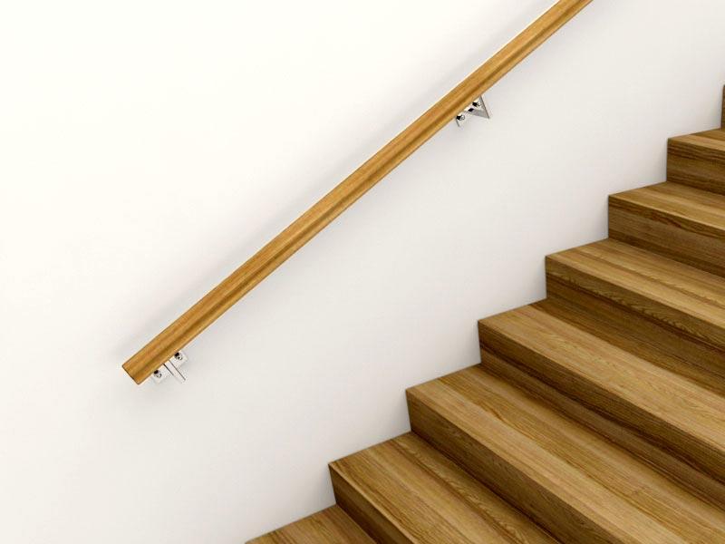 Пристенный деревянный поручень