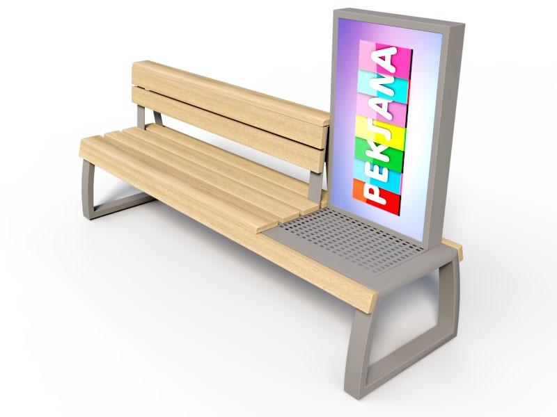 Скамейки из металла и дерева с рекламой