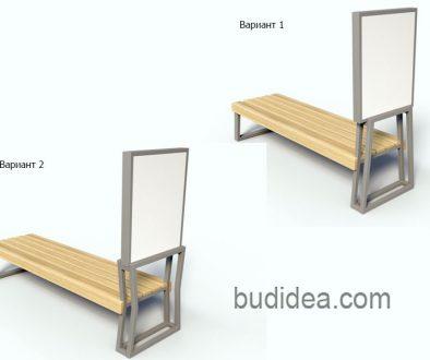 Скамейка без спинки из металла и дерева